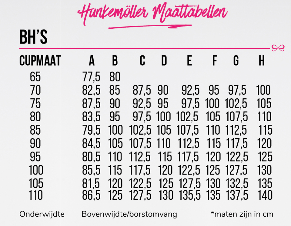 1820fb135fc Met deze maattabelen kan je heel gemakkelijk jouw Hunkemöller maten  bepalen. Het enige wat je hiervoor nodig hebt is een meetlint.