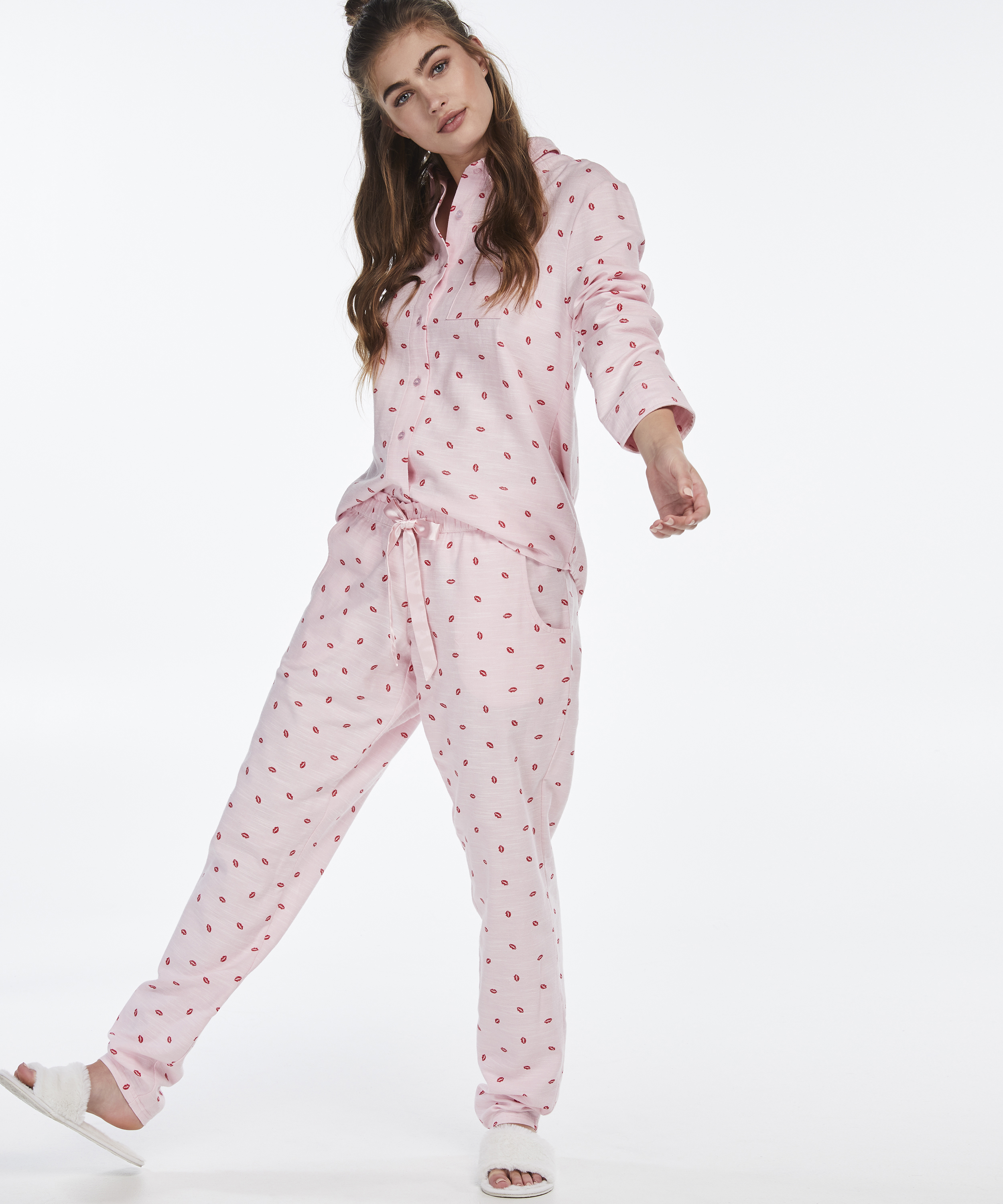 Pyjamabroek Chambray, Roze, main
