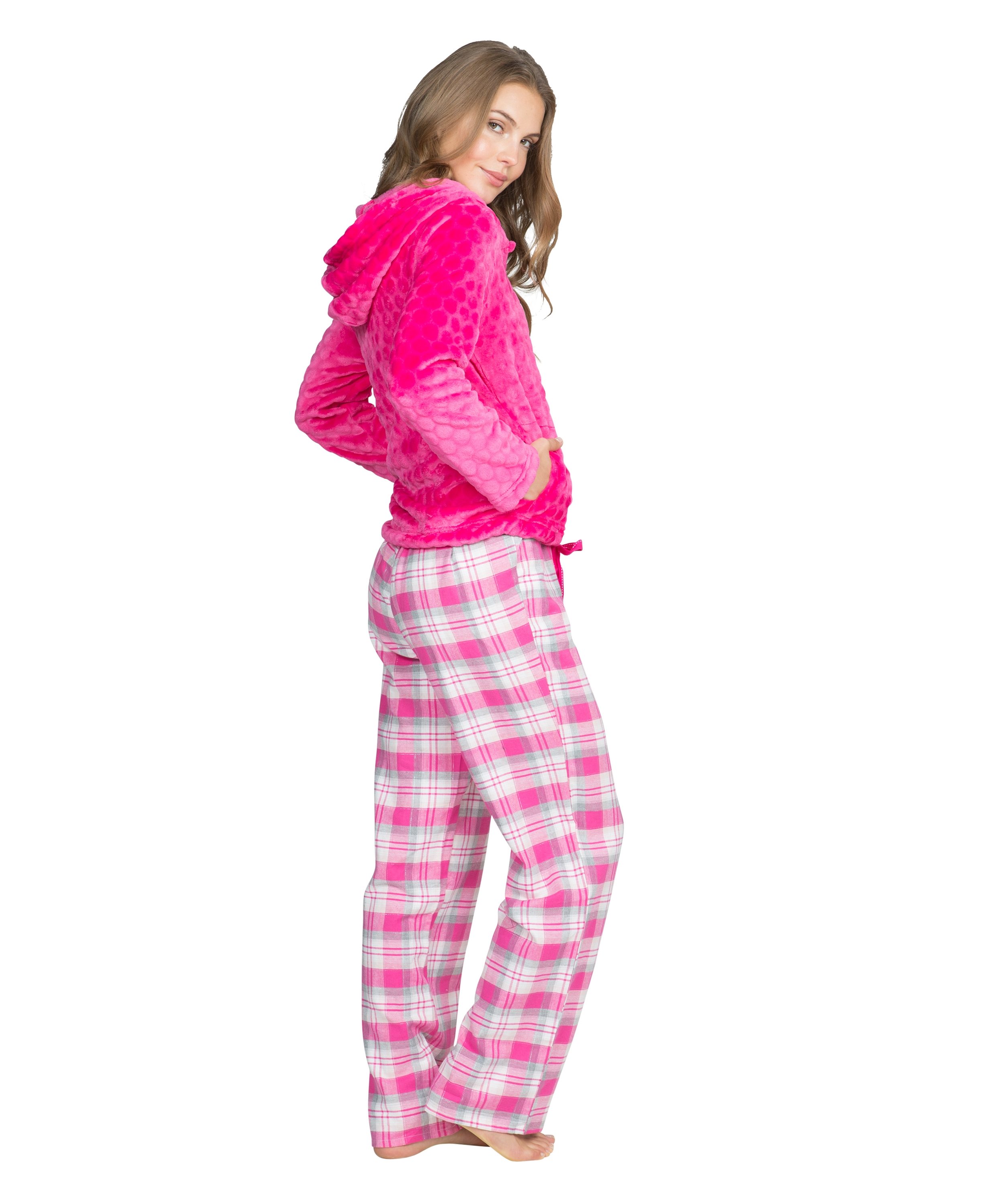 Pyjama pants Teddy check, Roze, main