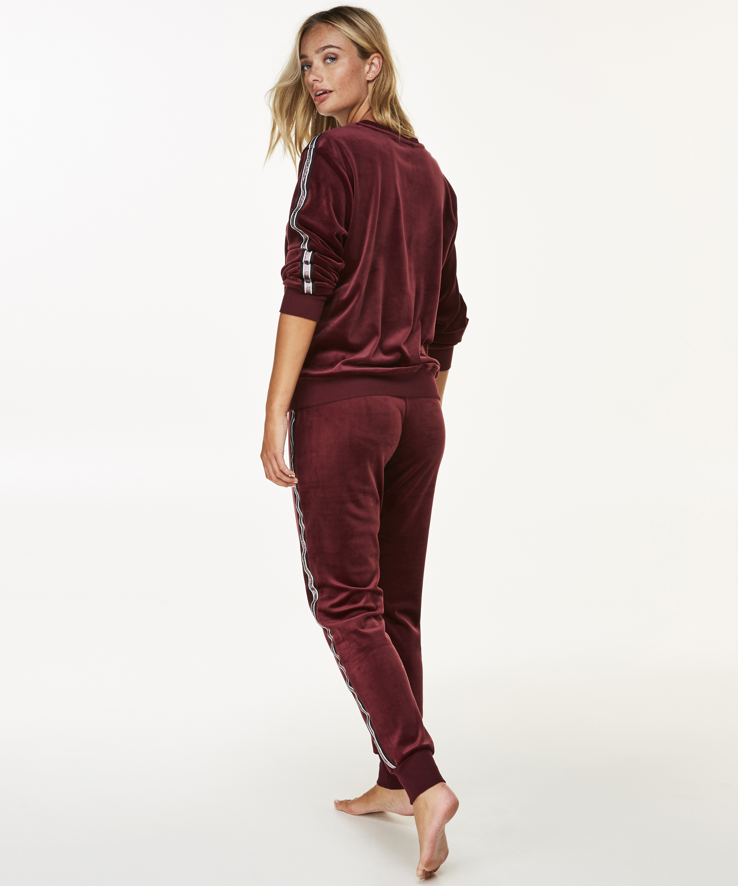 Joggingsbroek Velours, Rood, main