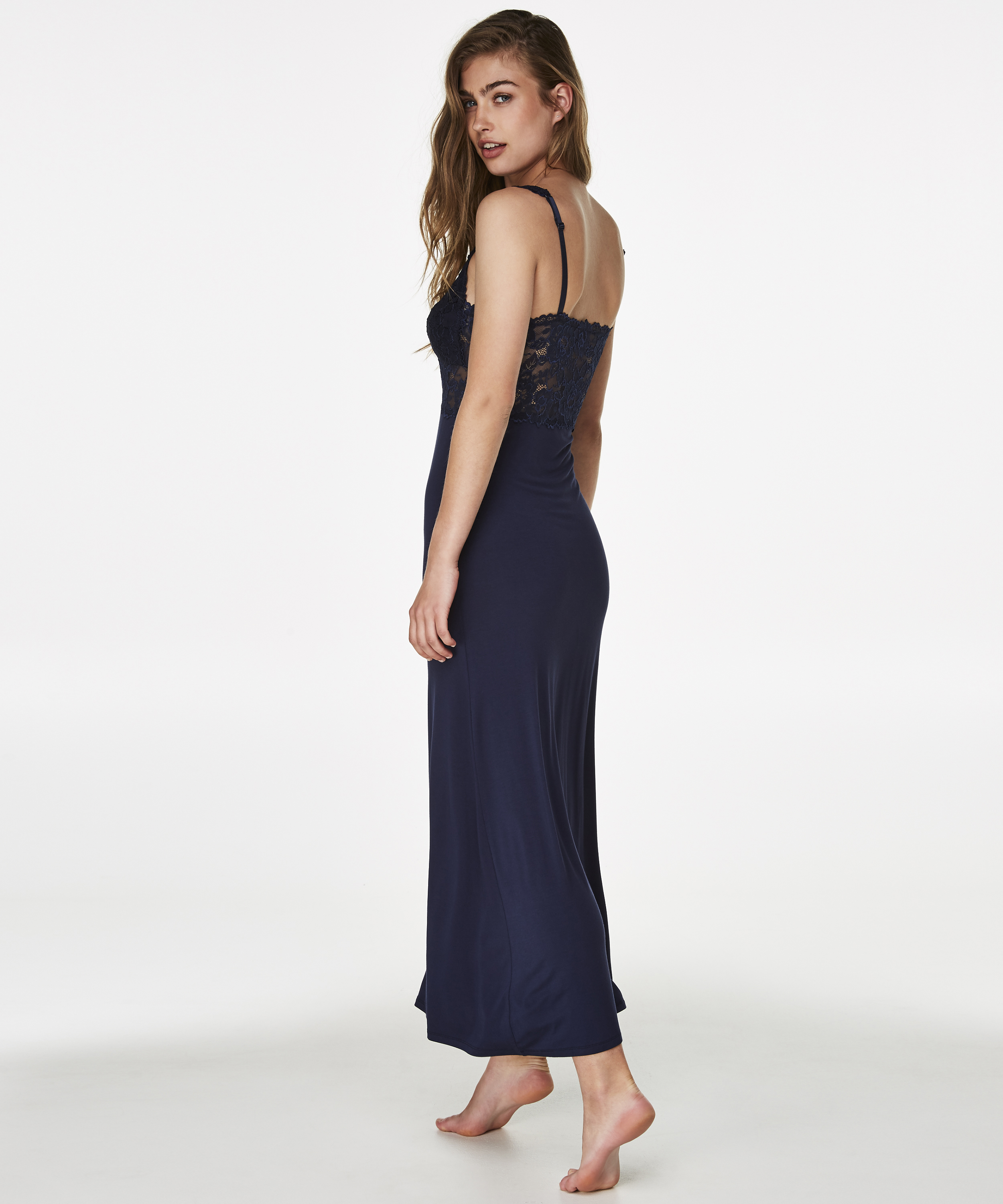 Slipdress Modal lace long, Blauw, main