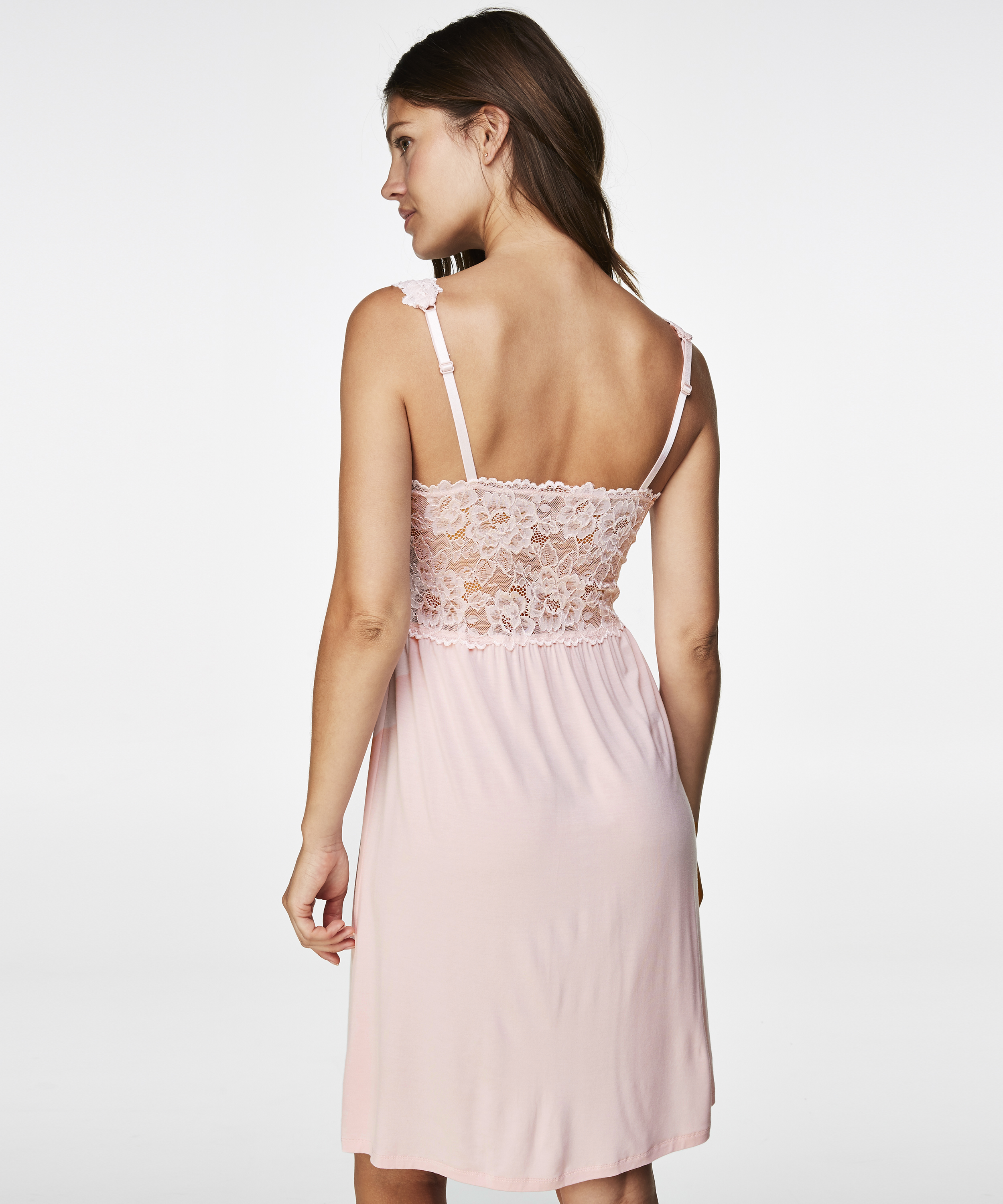 Slipdress Modal lace, Roze, main