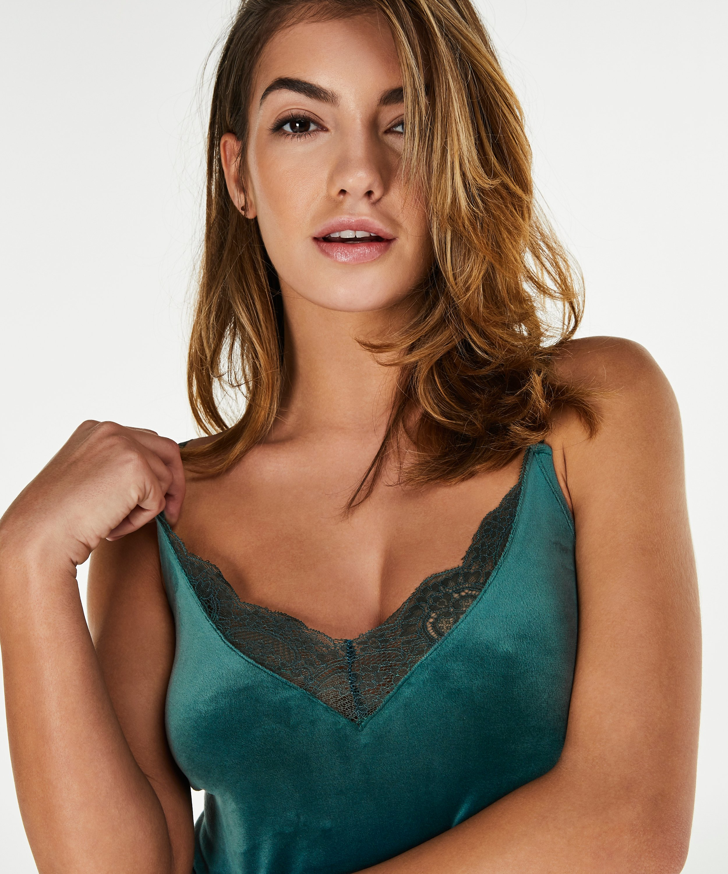 Cami Velours Lace, Groen, main