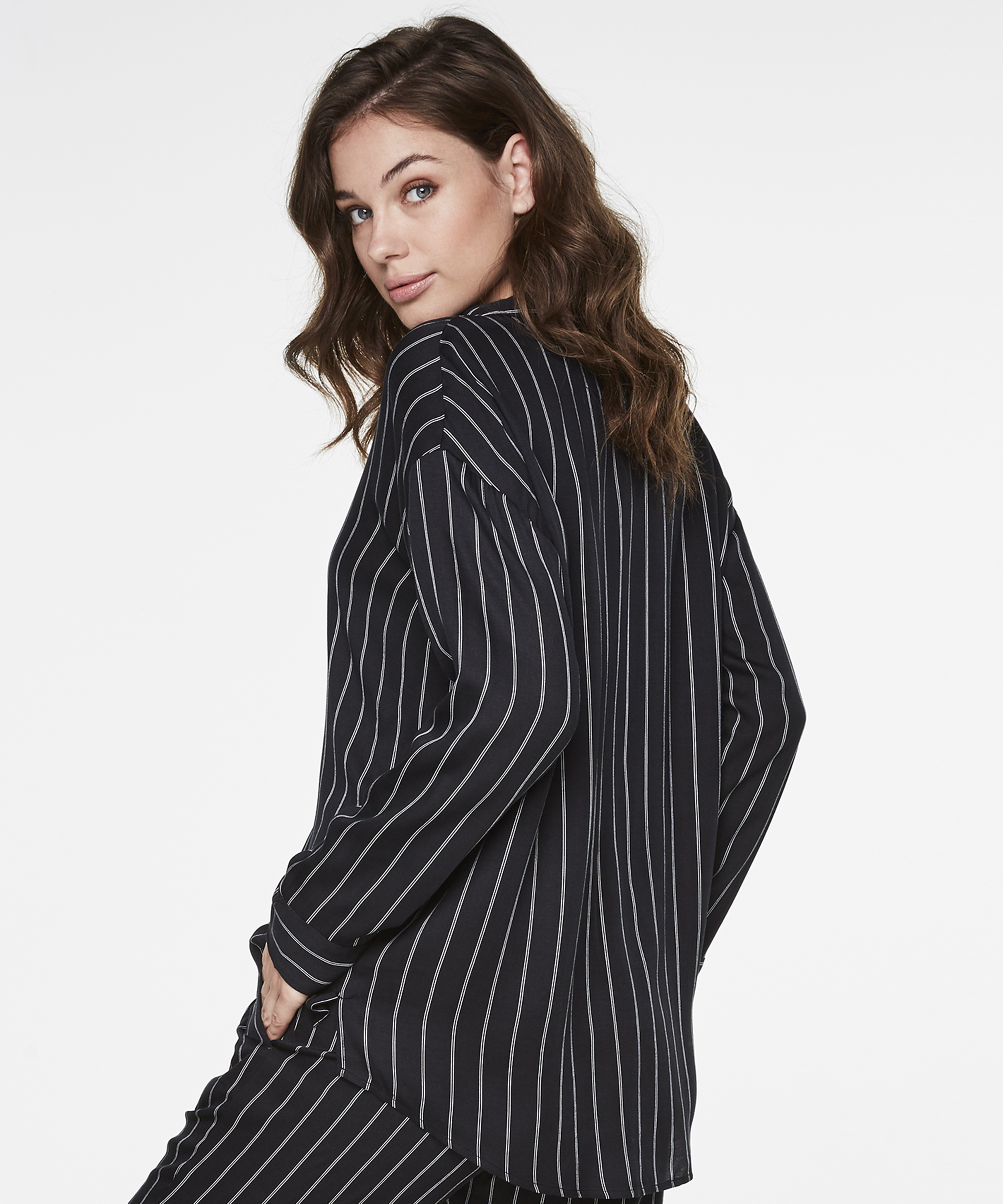 Pyjamatop Woven Striped, Zwart, main