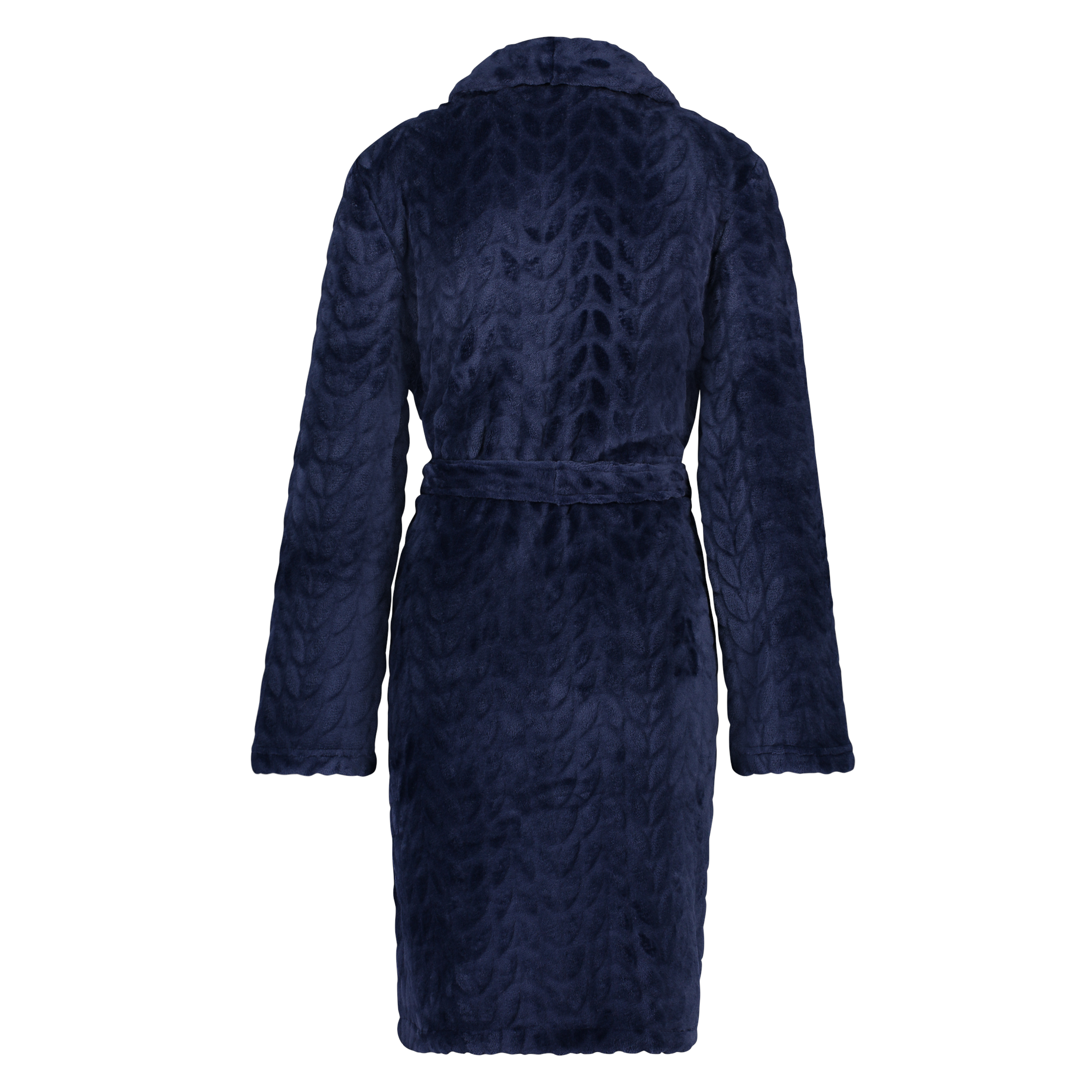 Korte fleece badjas leaves, Blauw, main