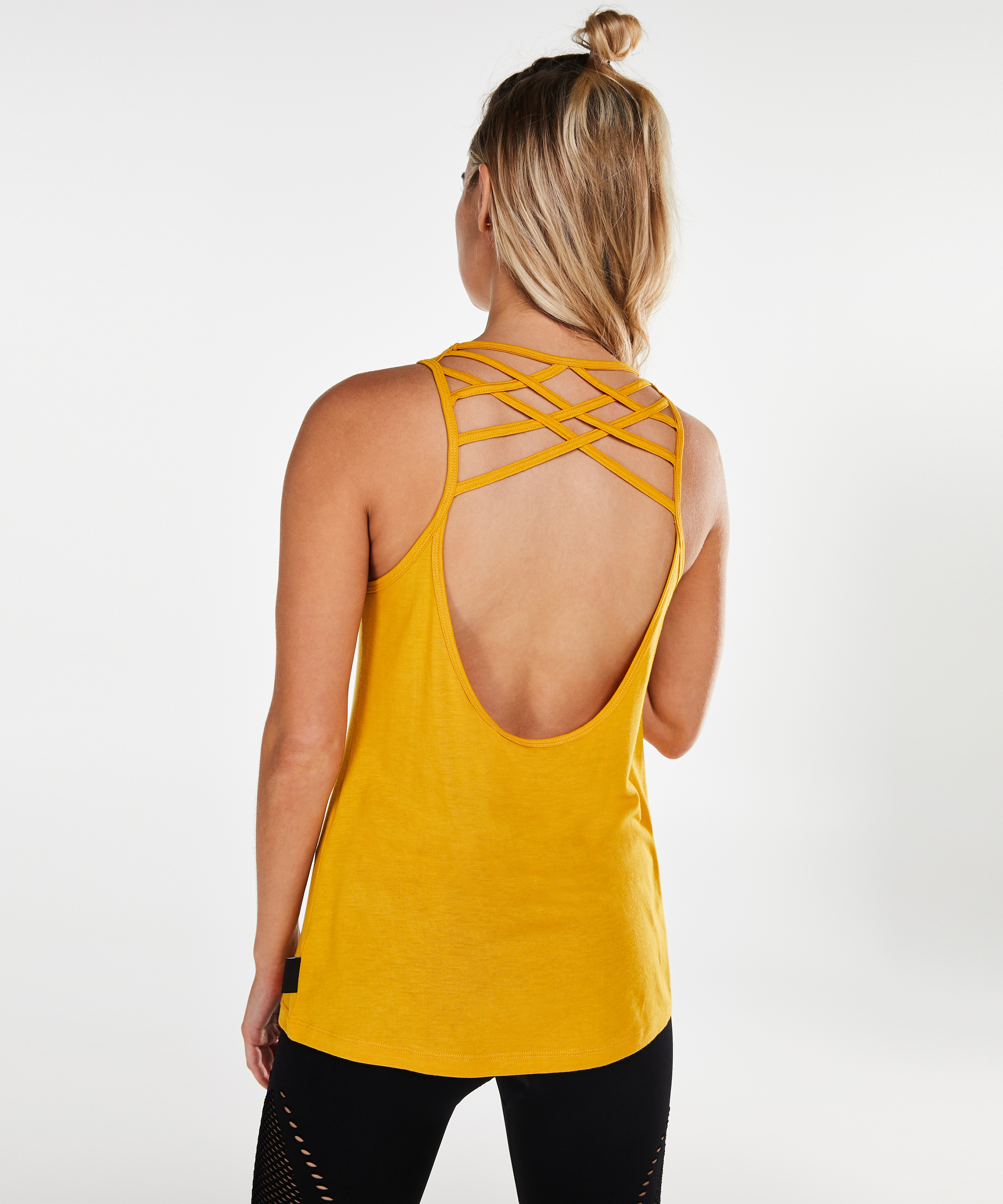 HKMX Laced back top, Geel, main