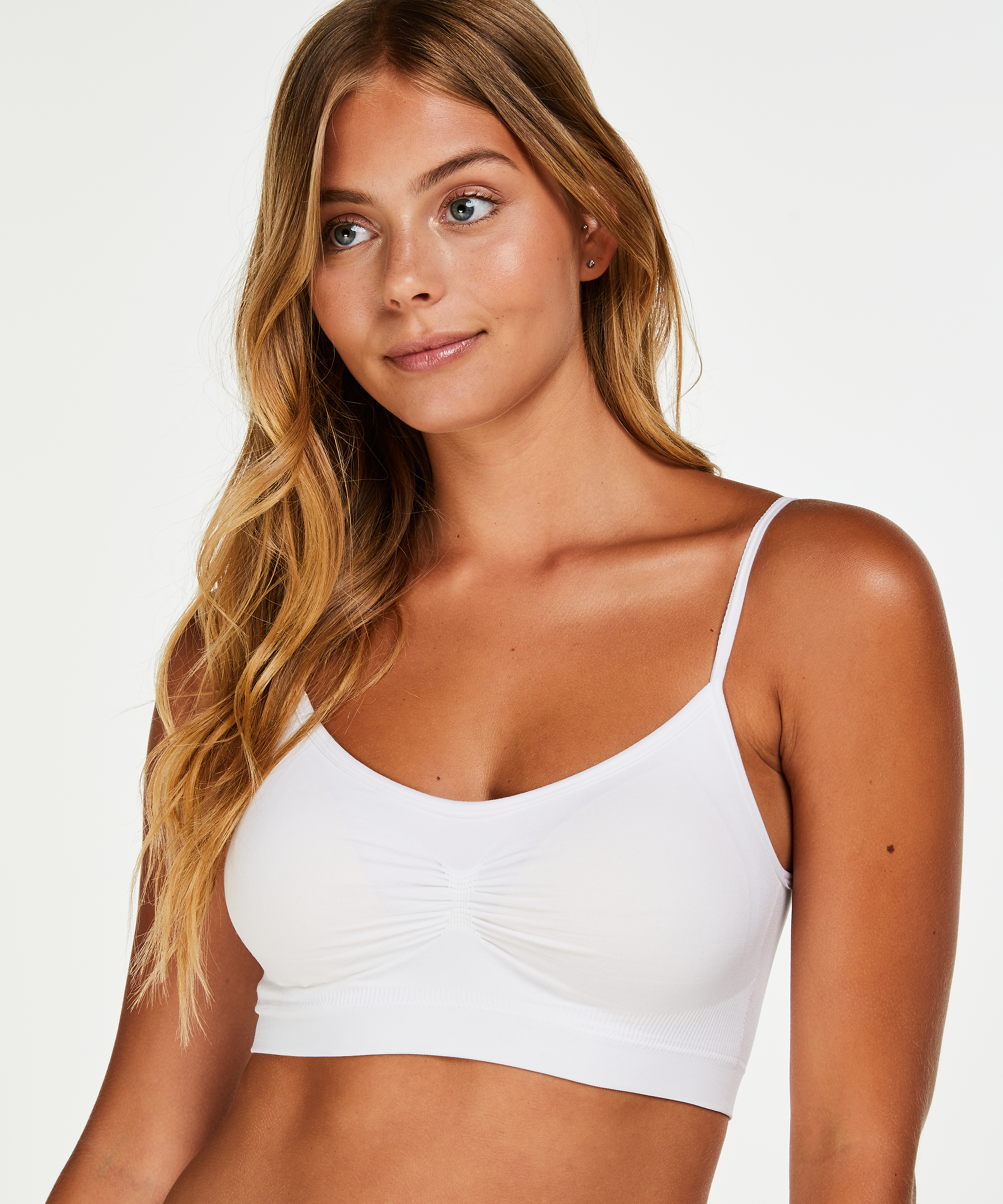 Naadloze strappy top, Wit, main