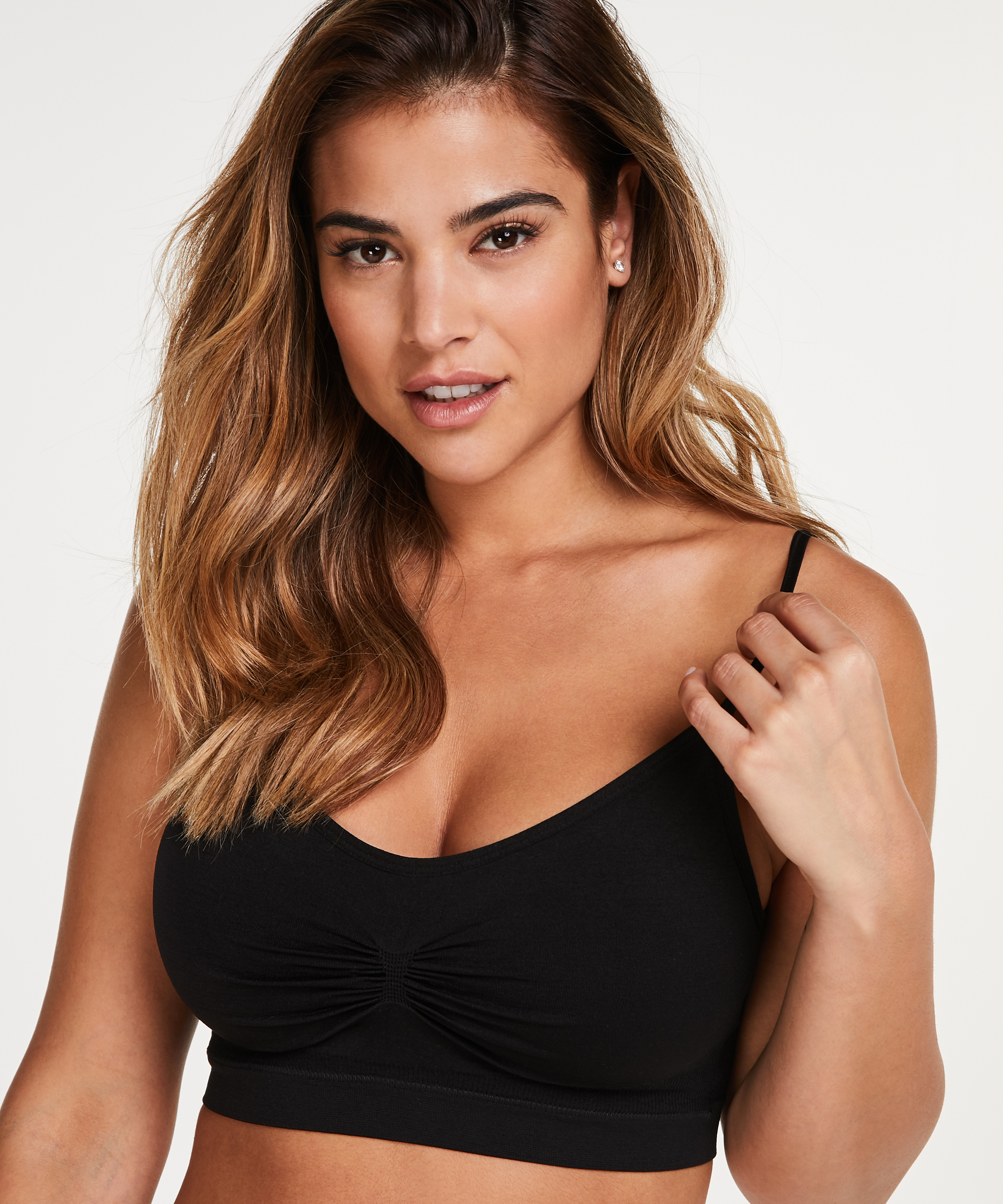 Naadloze strappy top, Zwart, main