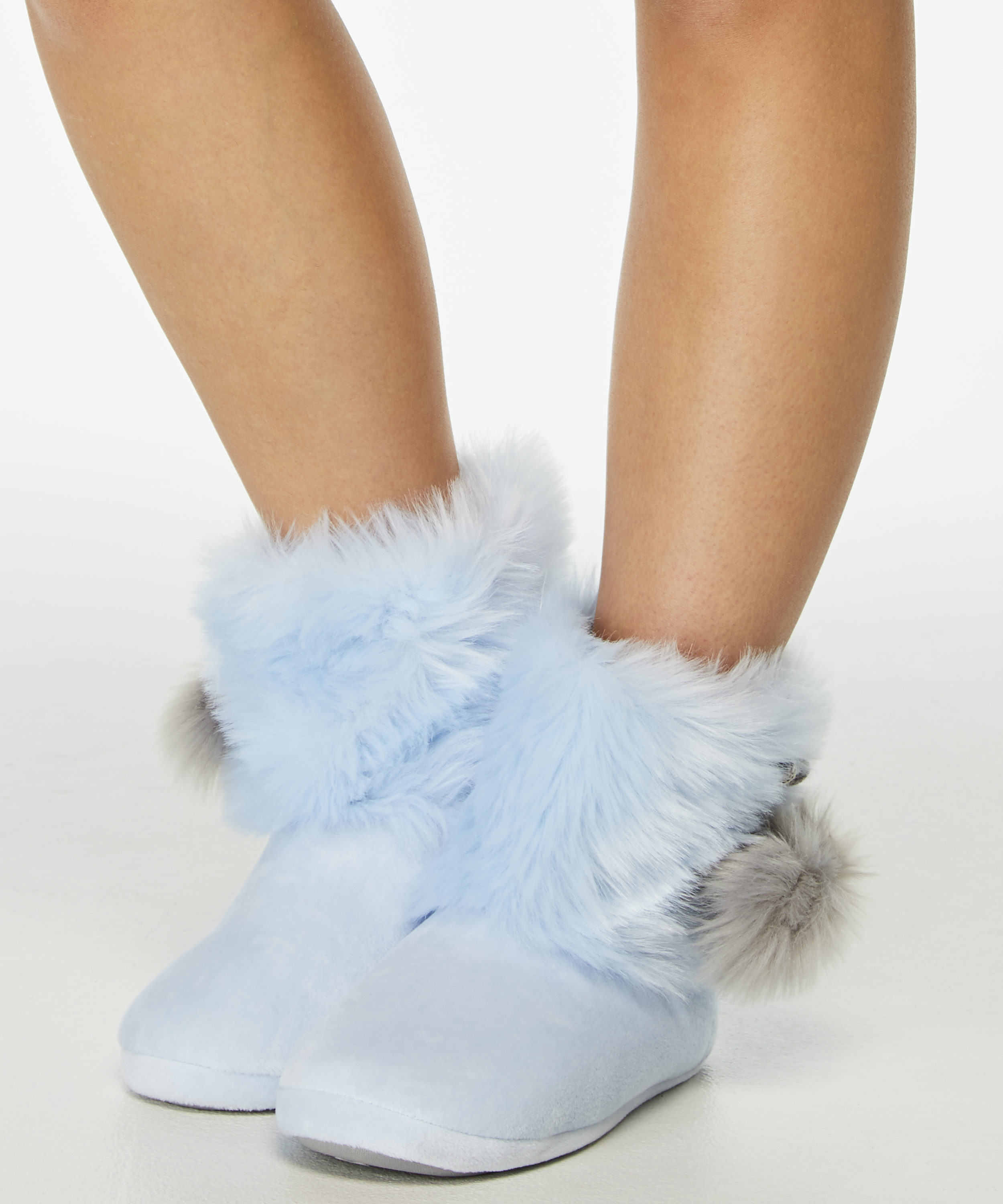 Pantoffel Textured Fur, Blauw, main