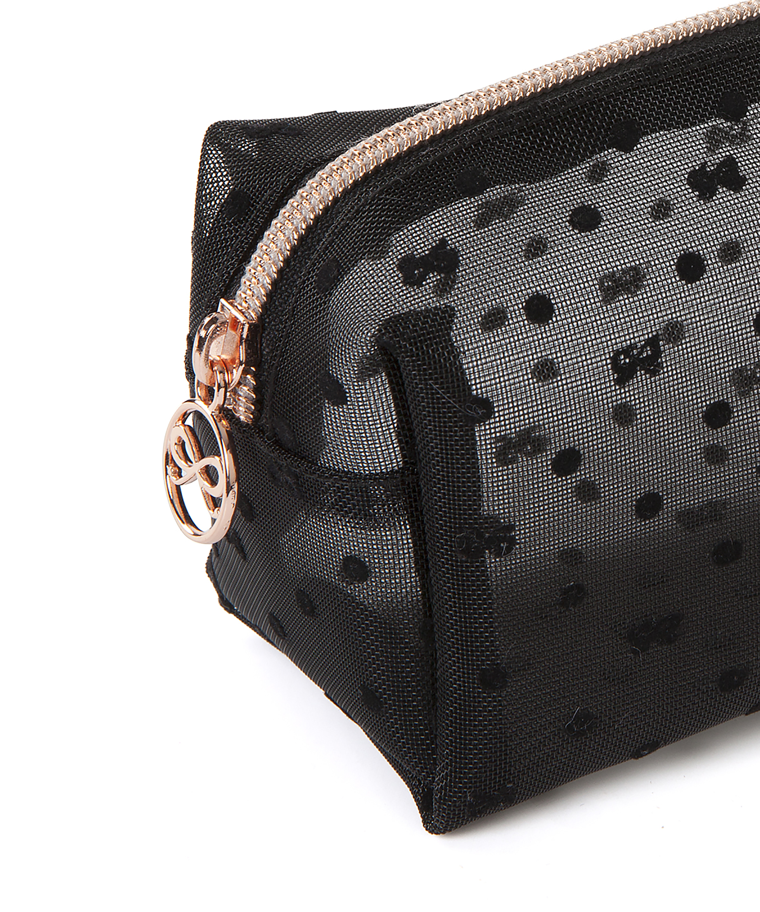 Make-up tas Dot Mesh, Zwart, main