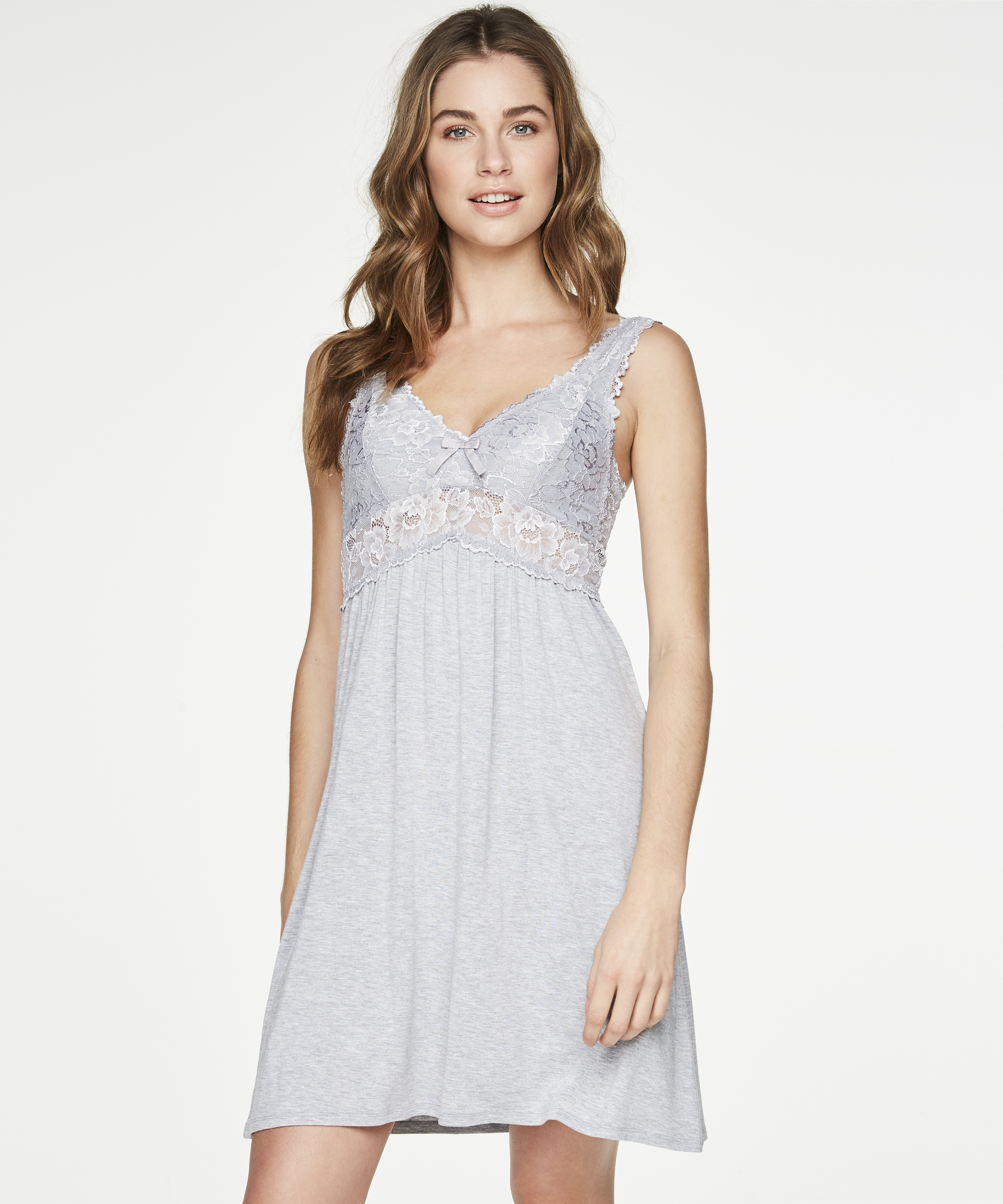 Slipdress Modal lace, Grijs, main