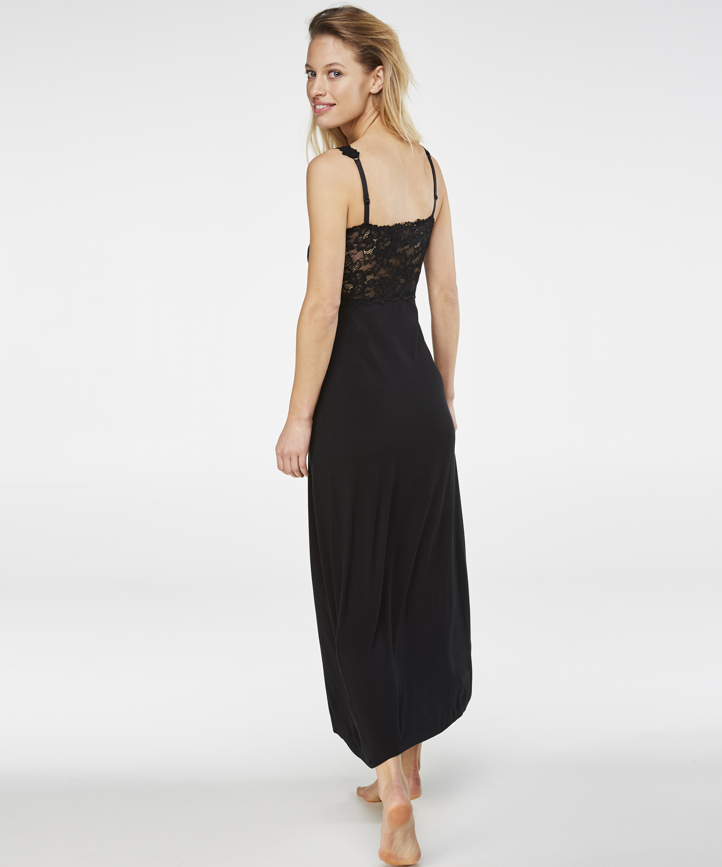 Lange slip dress Modal Lace, Zwart, main